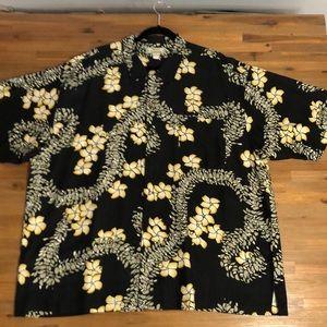 Tommy Bahama black silk aloha lay shirt